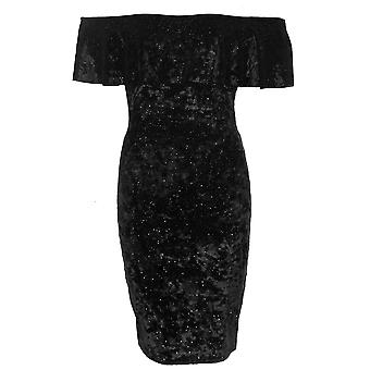 Ladies Off Ruffle Frill Shoulder Bardot Glitter Crushed Velvet Bodycon Party Dress