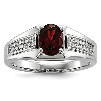925 Sterling Silver Polished Prong set Gift Boxed Rhodium-plated Garnet and Diamond Mens Ring - Ring Size: 9 to 11