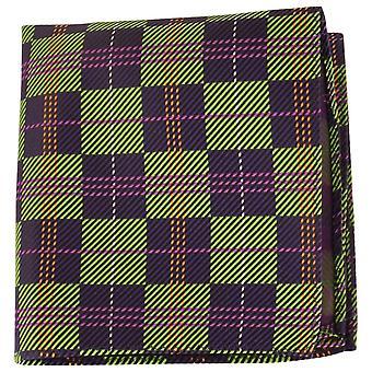 Knightsbridge Neckwear Checked Silk Pocket Square - Green/Navy