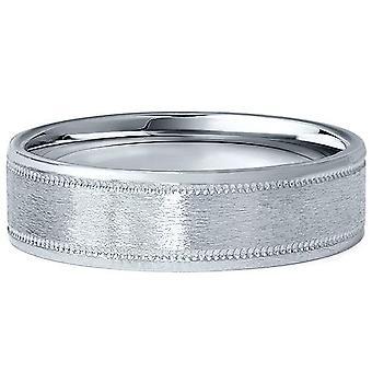 6MM flad børstet platin Herre bryllup Band Comfort Fit Ring