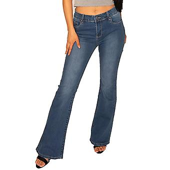 Mid Rise Bootcut Jeans - Blue
