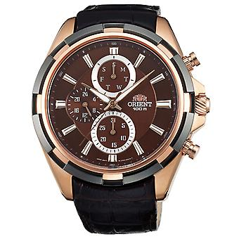 Oriental stylish watch for men with real leather strap gold