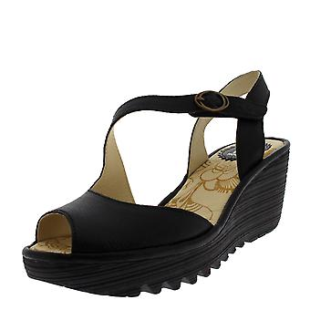 e75ac41a6176 Womens Fly London Yamp Leather Peep Toe Wedge Heel Summer Cut Out Sandals