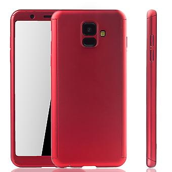 Samsung Galaxy A6 2018 Handy-Hülle Schutz-Case Full-Cover Panzer Schutz Glas Rot