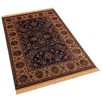 Large Blue Artificial Faux Silk Effect Antislip Indian Agra Rugs 4620/9 160 x 230cm