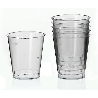 250 X Plastic Shot Glass With Calibration Marks - Markings at 20 - 40 Ml - Kitchen Bar Accessory