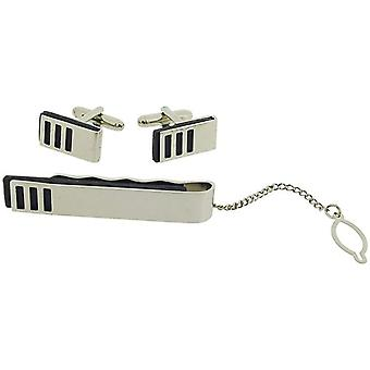 Artamis Gents Steel Plated Cufflinks & Tie Bar Gift Set Presentation Box CLT3