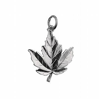 Silver 22x19mm solid Maple Leaf Pendant or Charm