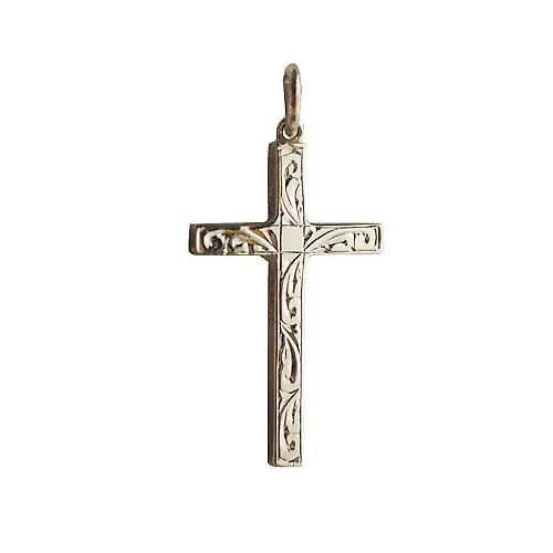 9ct Gold 30x18mm hand engraved solid block Cross
