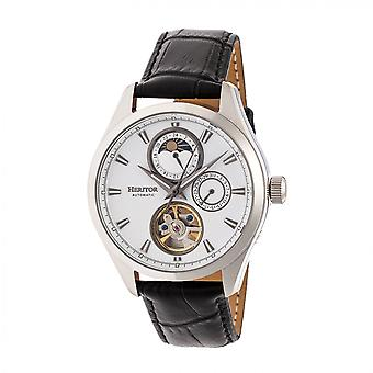 Heritor Automatic Sebastian Semi-Skeleton Leather-Band Watch- Silver