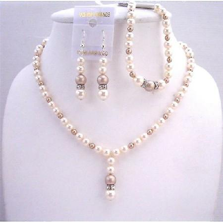 Swarovski Bridal Ivory Champagne Pearls Jewelry Silver Rondells Sets