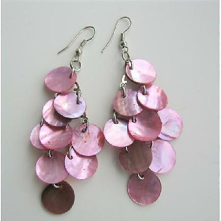 Pink Shell Beautiful Chandelier Earrings Mop Shell Dangle Earrings