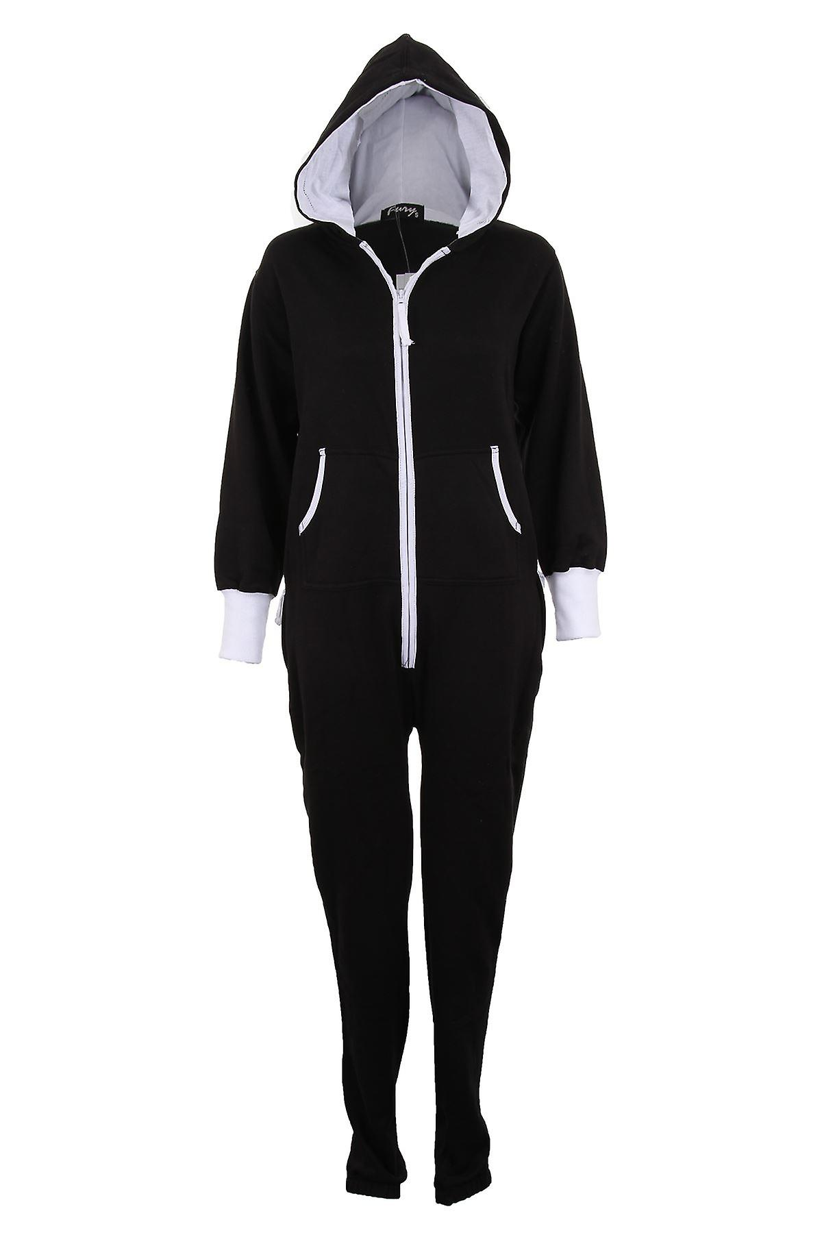 Ladies Plain Jumpsuit All In One Zipper Womens Playsuit Hooded