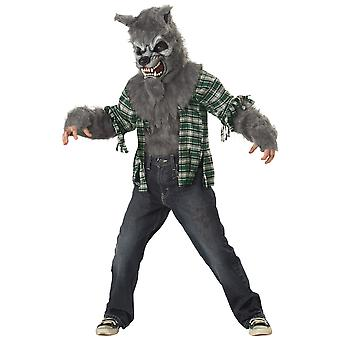Howling At The Moon Wolfman Werewolf Grey Wolf Monster Horror Boys Costume