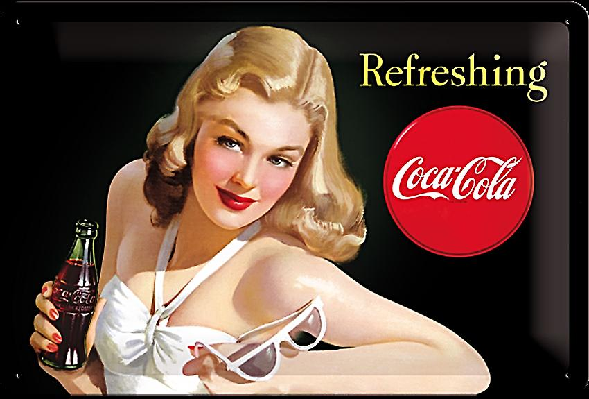 Coca Cola Refreshing (lady in white) embossed steel sign   (na 3020)