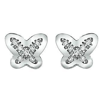 Bella Butterfly Cubic Zirconia Stud Earrings - Silver