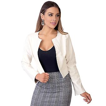 KRISP Frauen Damen PU Leder geschnitten Jacket Open Blazer Long Sleeve Bolero Shrug Coat