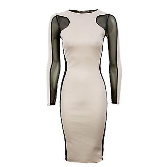Ladies Plain Contrast Mesh Insert Dress Plain Slimming Effect Womens Dress