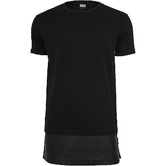 Urban Classics Men's T-Shirt Long Zipped Leather Imitation Bottom