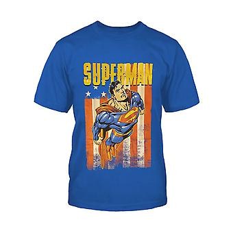 Superman T Shirt USA Distressed Flag Pose new Official DC Comics Kids Blue