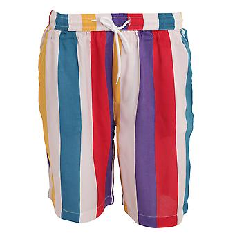 Brave Soul Mens Rainbow Striped Retro Style Shorts