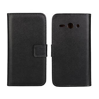 Wallet Pouch Huawei Y530, genuine leather, black