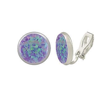 Éternelle Collection symphonie lavande opale Stud argent Clip boucles d'oreilles