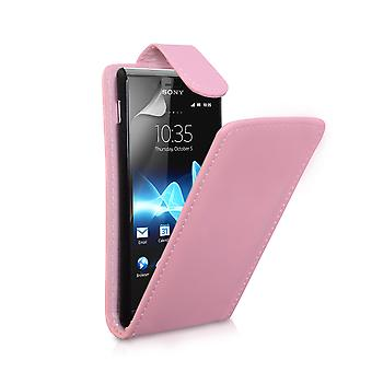 YouSave Accessories Sony Xperia E Leather Effect Flip Case Baby Pink