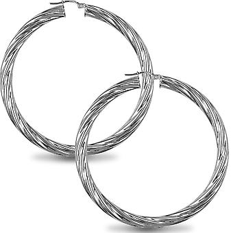 Jewelco London Sterling sølv Twist Hoop øredobber-5mm-5.9 cm