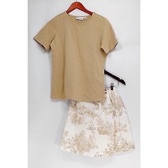 Denim & Co. Set Stretch T-shirt & Stretch Classic Printed Skort Beige A10855