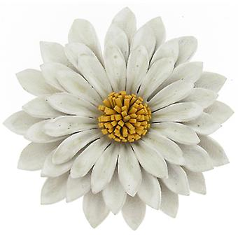 Ivory Leather Camomile Flower Adjustable Bracelet
