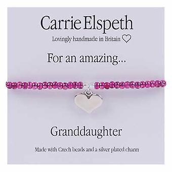 Carrie Elspeth For An Amazing Granddaughter Sentiment Heart Stretch Bracelet