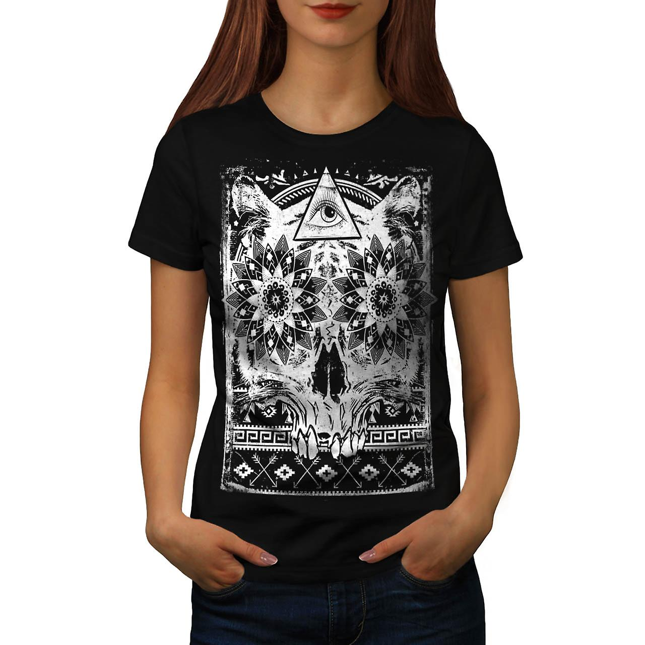 Secret Society Group Skull Beast Women Black T-shirt | Wellcoda
