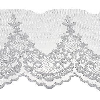 Scroll Work Embroidered Edge Bridal Tulle Trim 5