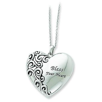 Sterling Silver Antiqued Heart Necklace - 7.5 Grams - 18 Inch