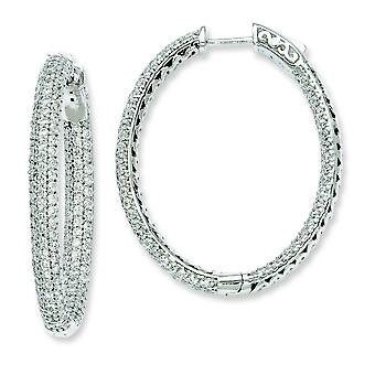 Sterling Silver 1.12 inch diameter CZ Hoop Earrings