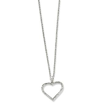 Rhodium-plated Large CZ Heart Necklace - 18 Inch