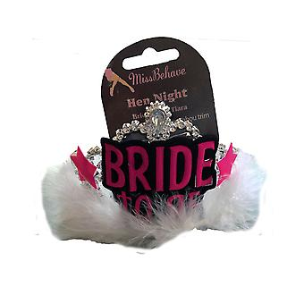 Hen Party �Bride To Be� White Fur Trim Tiara With Veil