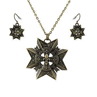 Bronze Star + Fleur de Lis Necklace and Dangle Earrings Set