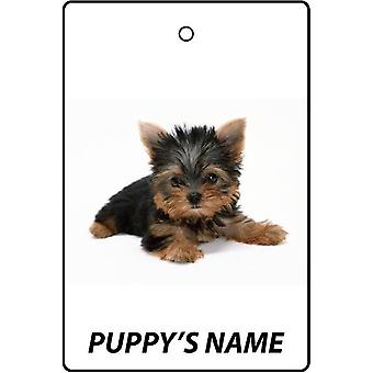 Personalised Yorkshire Terrier Puppy Car Air Freshener