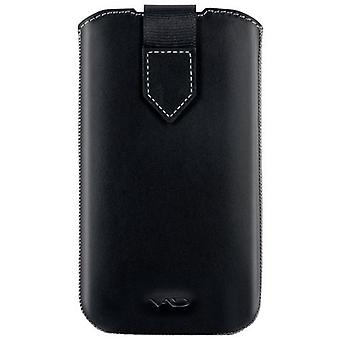 VICIOUS AND DIVINE Superior Leather Soft Pouch for Samsung Galaxy SIII/S4 and Others Extra Large Black (VAD-S100-4800-XL-BK)