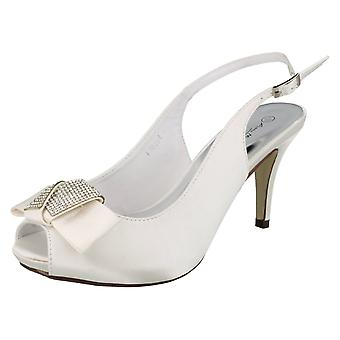 Ladies Anne Michelle Peep Toe Diamante Bow Court Shoes F10254