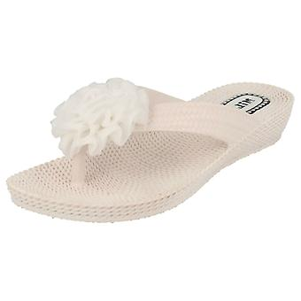 Ladies Millie Toe Post Sandals With Flower Detail L402