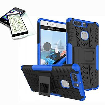 Hybrid case 2 piece blue for Huawei P9 + bulletproof bag case cover