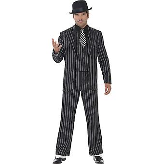 Classic gangster boss costume with jacket tie vest with mock shirt and pants size XL.