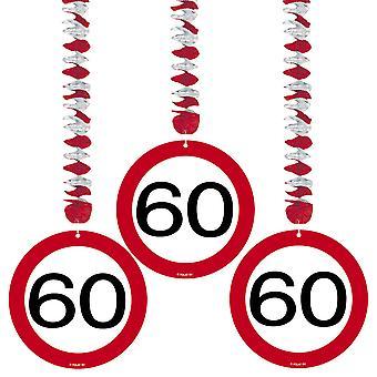 Spiral Garland 3 St. traffic sign number 60 birthday rotor spirals