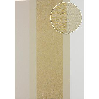 Stripes Atlas PRI-546-4 non-woven wallpaper smooth in textile design and metallic effect olive olive grey gold Pebble grey 5.33 m2
