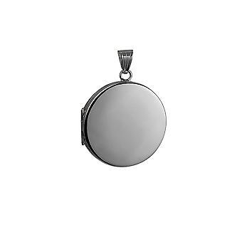 Silver 29mm Płaska okrągły medalion zwykły