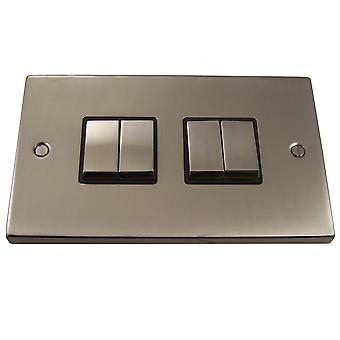 Causeway 4 Gang Ingot Light Switch, Satin Chrome