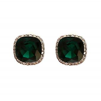 W.A.T Green And Clear Crystal Small Square Shaped Earrings
